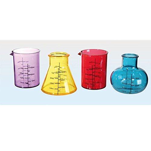 Set 4 Shottini Provetta Chimica in Plastica Colorata da 50 ml - Bicchierini Provette Chimiche Shooters Liquore