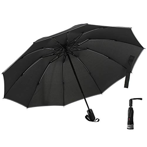 AOMIKS Travel Umbrella with Reflective Edge Reverse Folding Umbrella Strong Fast Drying Reinforced Windproof Frame Lightweight 10 Ribs Auto Open/Close Special Slip-Proof Handle for Easy Carry