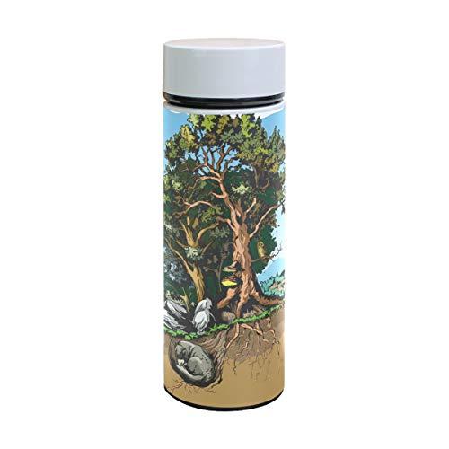 Bennigiry Forest Animal Pattern Print 3oz Double Walled Vakuum Isolierte Edelstahl-Wasserflasche Vakuumflasche Reisetasse Thermoskanne Kaffee Becher - Animal-print Kaffee Becher