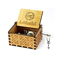 Cuzit The Lord of the Rings Movie Theme Music Box Wooden Engraved Hand Crank Musical Toy