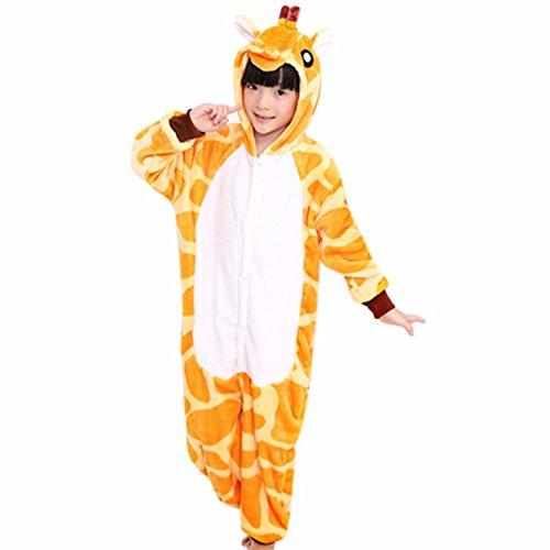 QIYUN.Z Bande Dessinee Hanches Girafe Queue Enfant Enfants D'Hiver a Glissiere Flanelle Mignon Pyjama Animales