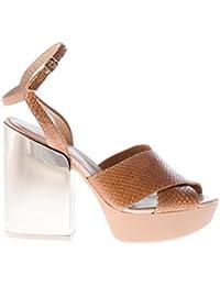 HOGAN scarpe donna women shoes Sandalo incrociato pelle stampa rettile naturale