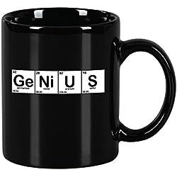 Taza mug desayuno de cerámica negra 32 cl. Modelo Genius