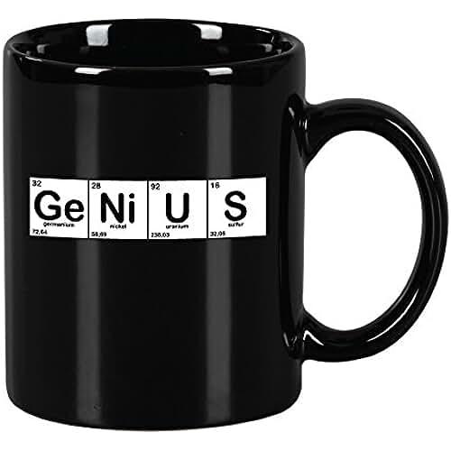 dia del orgullo friki Taza mug desayuno de cerámica negra 32 cl. Modelo Genius