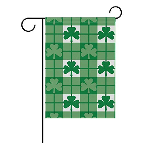 ASKYE St. Patrick's Day Polyester Garden Flag Double Sided, Green Leaves Shamrocks Decorative Yard Flag for Party Home Outdoor Decor(Size: 28inch W X 40inch H) Notre Dame Shamrock Green