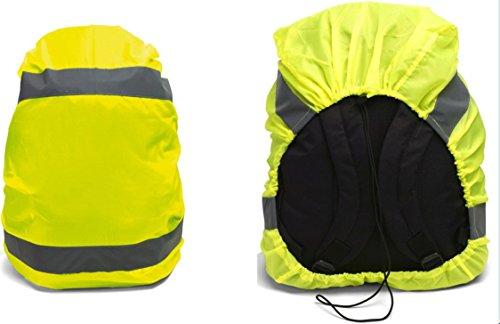 Regenschutz NEONGELB MIT 2 REFLEKTORSTREIFEN Schutzhülle Regenüberzug für Schulranzen Rucksack Tasche Ranzen