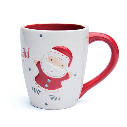 Excelsa - Taza (cerámica), diseño de Navidad, color blanco y rojo