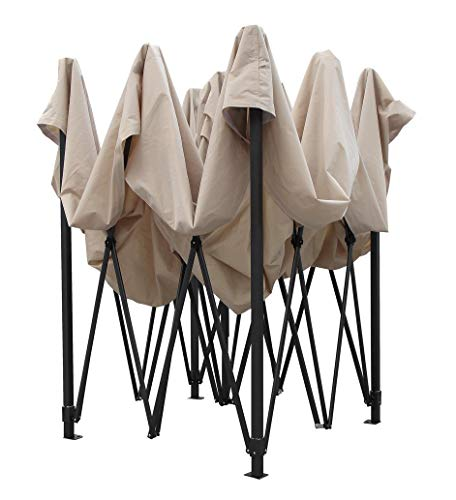 Because it is a pop up gazebo, there are no poles to be aligned. One just needs to prop up the gazebo legs up and install the roof. Once you do this, you can leave the roof on when you collapse the structure for easy set up next time. The fabric covering the frame is quality 260g polyester that has been given a PVC coating. The PVC coating protects the fabric from harmful UV rays and makes the fabric 100% waterproof.