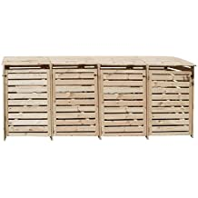 Mülltonnenbox für 4 Tonnen in Holz natur