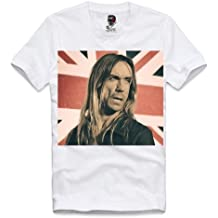 E1SYNDICATE V-NECK T-SHIRT IGGY POP THE STOOGES UNION JACK CLASH ROCK CD TOUR S-XL
