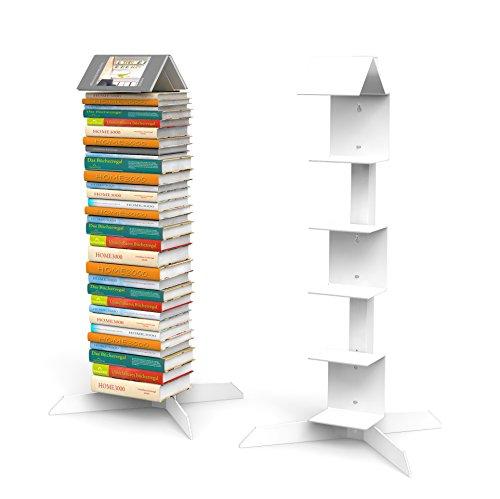 Bücherstapelregal freistehend mit 'Bookmark Regal' in weiß für Taschenbücher