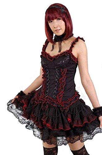 Dark Dreams Gothic Punk Rave GLP Tüll Tutu Mini Rock Rüschen schwarz rot 36 38 40 42, Farbe:schwarz/rot