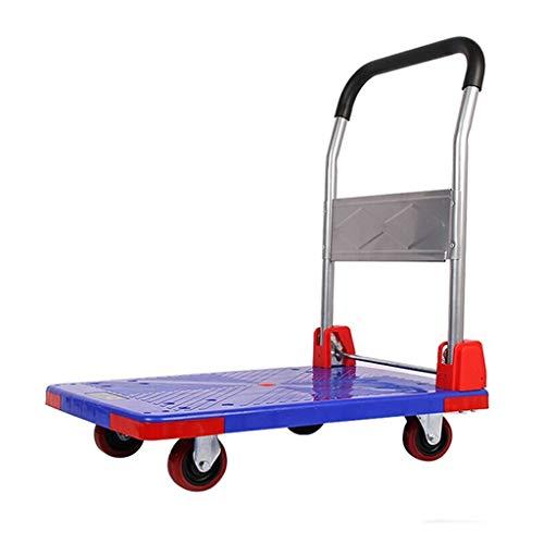 YuanLife Hand Truck 4-Rad Faltbare Rolling Warehouse Moving Kunststoff Pritsche Plattform Stahl Dolly Push Cart 150KG Kapazität, rutschfeste Oberfläche - Rolling Weekender