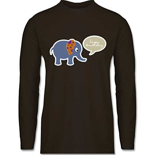 Shirtracer Geburtstag - Elefant Happy Birthday - Herren Langarmshirt Braun