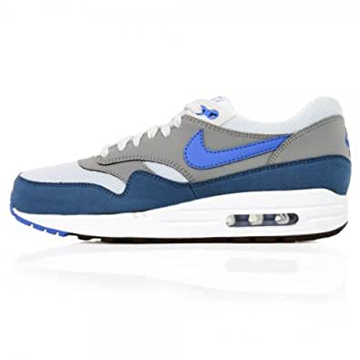 Nike Air Max 1 Essential Geyser Grey, Prize Blue, White Trainers Mens Size 9 UK