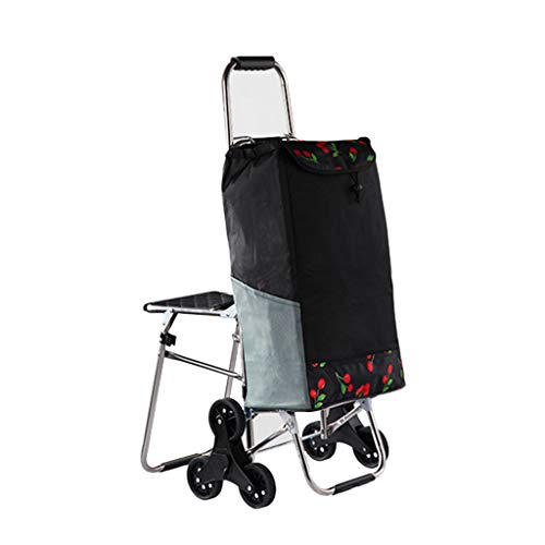 Home Treppensteigen mit Hockern Kofferwagen Falten Supermarkt Warenkorb Warenkorb Warenkorb (Color : Black, Size : 44 * 49 * 94cm)