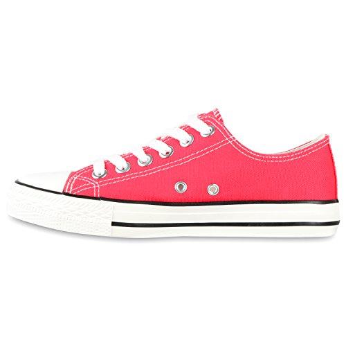 Sportliche Damen Herren Low Sneakers Bequeme Schnürer Freizeit Schuhe Pink