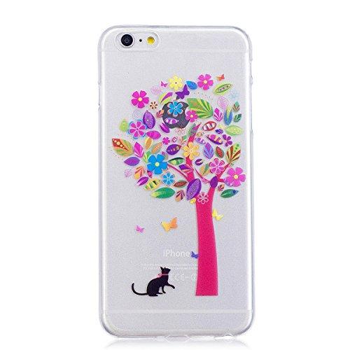 Coque iPhone 6s Plus, Lifetrut Ultra Doux et Gel TPU Silicone Transparent Housse Boîtier Brillant pour iPhone 6s Plus [Cœurs] E203-Arbre Chat