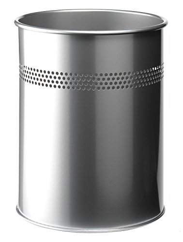 Durable 330023 Papierkorb Metall rund (15 Liter, Perforation 30 mm) silber