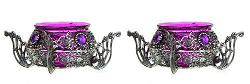Porte bougies marocains ornés de pierres, Lot de 2, Métal, violet