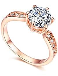 Redfly Anillo de boda para mujer chapado en oro rosa de18quilates y 9 piezas de cristal redondo de circonia CZ Crystal Paved Forever.