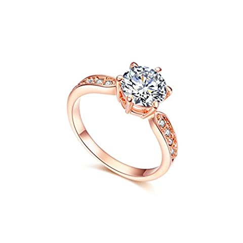 RedFly 18ct Rose Gold Plated 9pcs Round CZ Crystal Paved Forever Women Wedding Rings, Size H