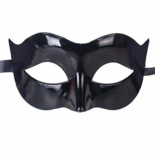 Gesichtsschutz Domino falsche Front Halloween Kostüm Tanz Maske Halb Gesicht Tanz Maske Flache Maske männliche Maske Weiblich Schwarz ()