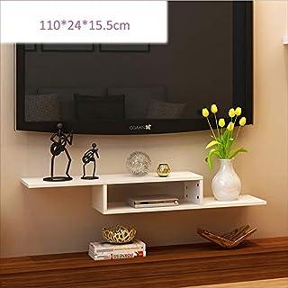 HQQ 2-Tier-Set-Top-Box-Halter Wand-Schwimmgestell für Kabel-Box/Router / Fernbedienung/DVD-Player/Spielkonsole (Farbe : Weiß)