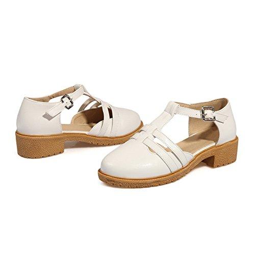 AllhqFashion Damen Rein Schnalle Schließen Zehe Sandalen Weiß