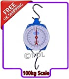 Heavy Duty 100kg / kilogram Large Spring Dial Hoist Scale Ideal for butcher and fish shop colour may vary