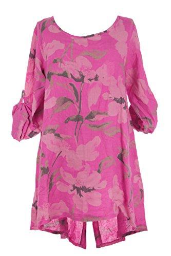 Ladies Womens Italian Lagenlook Floral Half Button Back Linen Tunic Top Dress One Size (Cerise Pink, One Size) (Linen Tunic Floral)