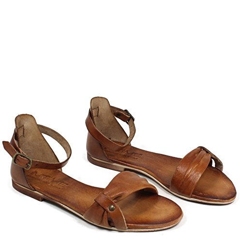 In Time Sandali Bassi Flat Donna Vera Pelle Cuoio 0411 Made in Italy