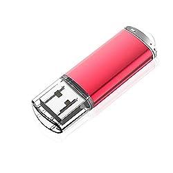 Kootion USB Stick 32 GB USB-Flash-Laufwerk 2.0 USB Speicherstick USB-Stick mit Kappen-Design und LED-Anzeige (Rot)
