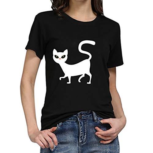 Qmber Damen Basic Kurzarm T-Shirt mit Knöpfen Stretch Falten Süße Herz Print Tunika Druck Frühling Sommer Oberteile Herren Unisex Chor Kostüm Paar ()