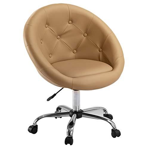 Duhome Elegant Lifestyle Schicker Rollhocker/Arbeitshocker/Bürostuhl in Cappuccino - Hocker Drehstuhl Typ 509B