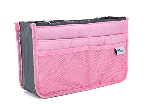 Periea - Sac de rangement/Pochette/Organisateur intérieur pour sac à main , 12 Grandes poches 28x17.5x12cm - Chelsy rose