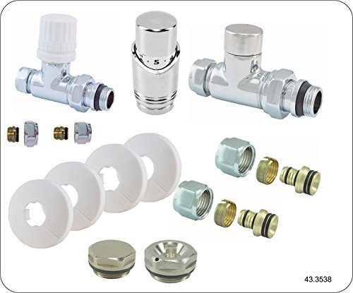 Heizkörper Ventil Komplettset inkl. Thermostat , gerade, Heizung Anschluss Set Garnitur
