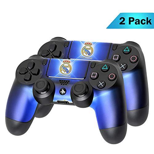 PS4 DualShock Wireless Controller Pro Konsole PlayStation4 Controller mit weichem Griff und exklusiver individueller Version Skin (PS4-Real Madrid) Mehrfarbig 2 - Pack