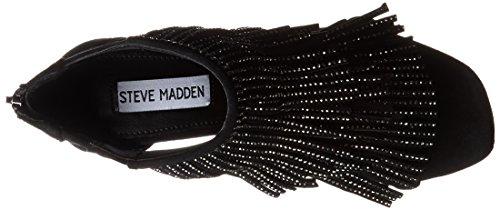 Sandale Steve Madden Fringly talon noir avec une frange et strass Noir