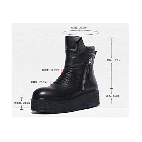 YYH Bottes de femme en cuir véritable plate-forme imperméable accrue cheville Bootie chaussures Black