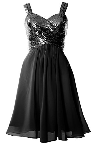 MACloth Gorgeous Sequin Short Bridesmaid Dress Cowl Back Cocktail Formal Gown Black