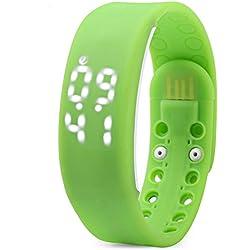 Leopard Shop TVG KM i - YOUTH Sport Wristwatch Multifunctional Unisex LED Digital Watch Calendar Magnetic Temperature Detecting Green