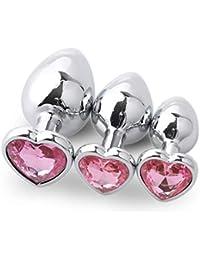 Productos para Adultos, BaZhaHei, 3 Piezas Base en Forma un Conjunto de Tapones anales en Forma de corazón Plata de Metal en la Parte…