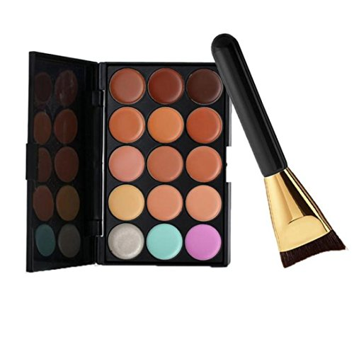 Susenstone 15 Couleurs de Palette Correcteur + 1PC Palette Contour de la Brosse de Maquillage