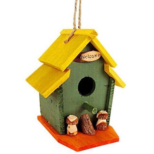 Vogel-Nisthöhle bunt aus Holz 15x15x19 cm - 2