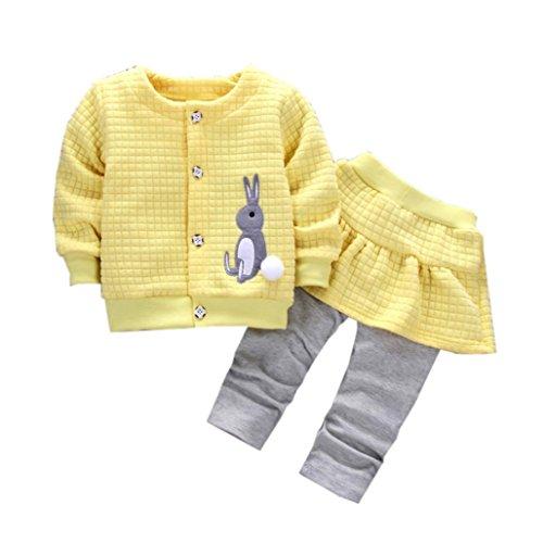 Omiky® 2Pcs Säuglingskleinkind-Baby-Kaninchen-Druck-Oberseiten-Mantel + Hosen-Ausstattungs-Kleidung-Satz (L/18Monat, Gelb) (2 Kleidersack Tasche)