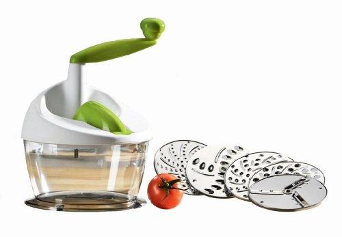 Enrico® Küchenreibe mit Auffangschale für Obst und Gemüse, Zerkleinerer inkl. 5 Einsatzscheiben