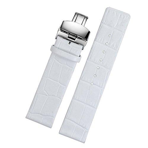 16mm weiß Leder Uhrenarmbänder Profil gerade mit Faltschliesse für Luxus-Frauen dünne dünne Uhren