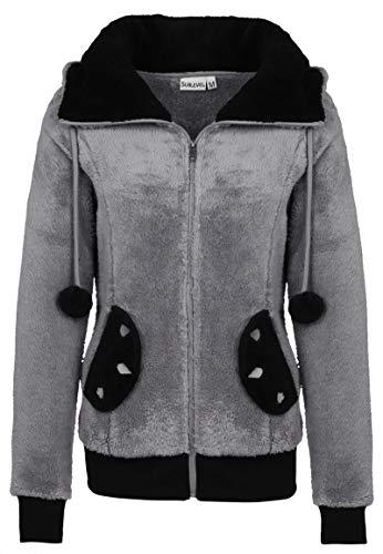 Sublevel Damen Fleece Jacke Panda Style mit Öhrchen und Panda Gesicht middle grey M