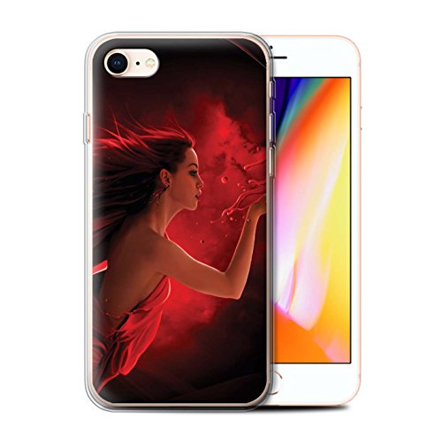 Officiel Elena Dudina Coque / Etui Gel TPU pour Apple iPhone 8 / Baiser de Lune Design / Un avec la Nature Collection Éclaboussure Rouge